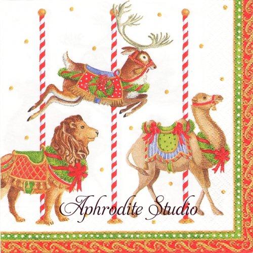 カスパリ 廃盤 Merry go round ホワイト クリスマス メリーゴーランド 1枚 バラ売り 33cm ペーパーナプキン Caspari