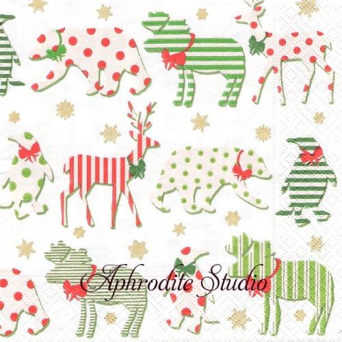 カスパリ 廃盤 Northern lights ホワイト クリスマス 動物のシルエット 1枚 バラ売り 33cm ペーパーナプキン Caspari