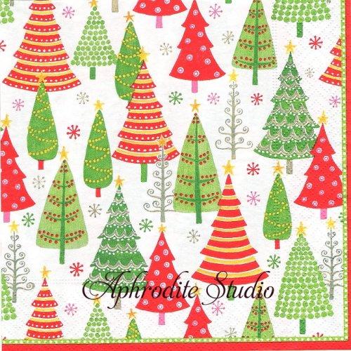 カスパリ 廃盤 TREE FARM カラフルツリー クリスマス 1枚 バラ売り 33cm ペーパーナプキン Caspari