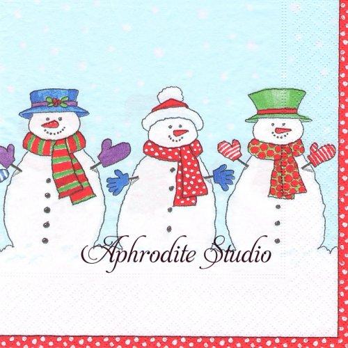 カスパリ 廃盤 スノーマン 雪だるま クリスマス 1枚 バラ売り 33cm ペーパーナプキン Caspari