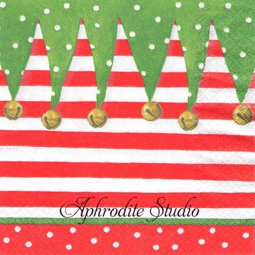 カスパリ 廃盤 STOCKING STRIPE クリスマスの靴下 1枚 バラ売り 33cm ペーパーナプキン Caspari
