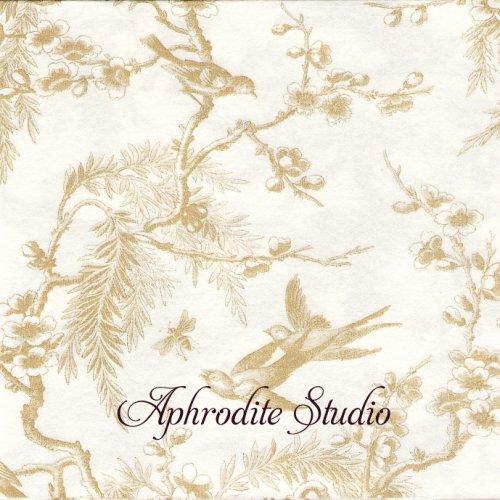 40cm カスパリ TOILE DE MARIAGE ゴールド トワル柄 エアレイド 1枚 バラ売り ペーパーナプキン Caspari