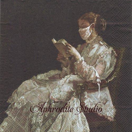 LISEUSE マスクをした本を読む女性 1枚 バラ売り 33cm ペーパーナプキン Ihr