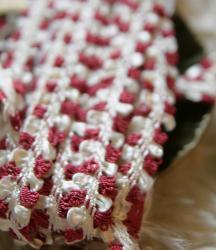 シルク(混?)の赤とキナリのヴィンテージのおリボン風トリム/50cmごと