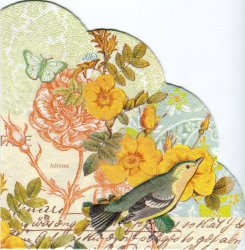 34cm BELVEDERE 黄色い薔薇 1枚 バラ売り サークル スカラップ型ペーパーナプキン デコパージュ用 紙ナプキン Ihr