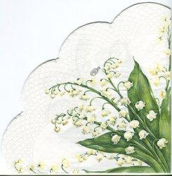 34cm FESTIVE MAY ホワイト すずらん柄 1枚 バラ売り サークル スカラップ型ペーパーナプキン デコパージュ用 紙ナプキン Ihr