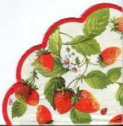 34cm FRESH STRAWBERRIES いちご 苺 パール加工 1枚 バラ売り サークル スカラップ型ペーパーナプキン デコパージュ用 紙ナプキン Ihr