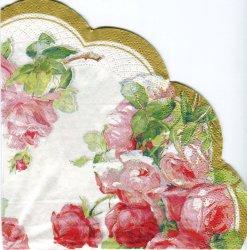 34cm VICTORIA ホワイト 薔薇 パール加工 1枚 バラ売り サークル スカラップ型ペーパーナプキン デコパージュ用 紙ナプキン Ihr