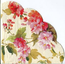 34cm SUMMER BEAUTY クリーム 花柄 1枚 バラ売り サークル スカラップ型ペーパーナプキン デコパージュ用 紙ナプキン Ihr