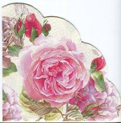 34cm TEA ROSE ホワイト ピンクの薔薇 1枚 バラ売り サークル スカラップ型ペーパーナプキン デコパージュ用 紙ナプキン Ihr
