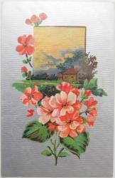 アンティークポストカード*ピンクの花と家*シルバーモアレ*(使用済み)