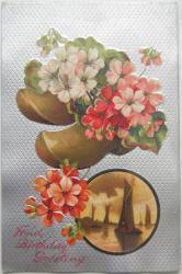 アンティークポストカード*ピンクの花と木靴*シルバーモアレ*Fond birthday greeting(使用済み)