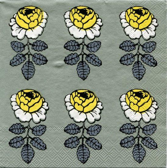 紙ナプキン/マリメッコ*ヴィヒキルース 白薔薇*スモークグリーン*ドイツ製/33cm/1枚