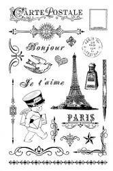 クリアスタンプ(中サイズ)フランスの手紙*アンティーク柄