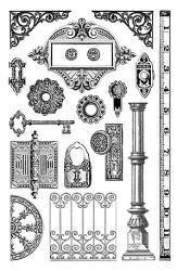 クリアスタンプ(中サイズ)門と鍵*アンティーク柄