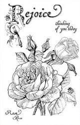 クリアスタンプ(中サイズ)薔薇/ローズと文字*アンティーク柄