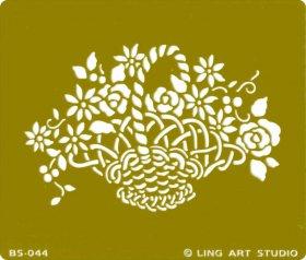 ステンシル・エンボスに*バラとマーガレットいっぱいの花かご・フラワーバスケット*メタル*テンプレート・シート