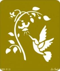 ステンシル・エンボスに*小鳥と花・バード&フラワー*メタル*テンプレート・シート