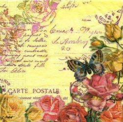 廃盤 Vintage Butterflies 薔薇と蝶のコラージュ柄 イエロー 1枚 ばら売り 33cm ペーパーナプキン 紙ナプキン デコパージュ ppd