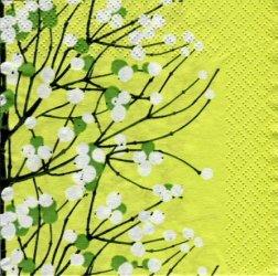24cm 北欧 廃盤 マリメッコ LUMIMARJA ライトグリーン ルミマルヤ 雪いちご フィンランド製 1枚 バラ売り ペーパーナプキン marimekko