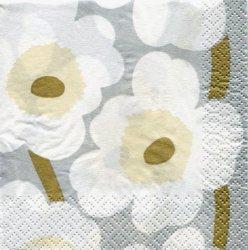 廃番 24cm マリメッコ  ウニッコ UNIKKO シルバー 1枚 バラ売り ペーパーナプキン marimekko