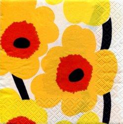 マリメッコ*ウニッコ*アカx黄色x白/1枚/24cm/紙ナプキン/バラ売り