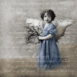 北欧 廃盤 Blue Angels Script 青いドレスの天使 スクリプトバージョン 1枚 ばら売り 33cm 紙ナプキン デコパージュ SAGEN VINTAGE DESIGN