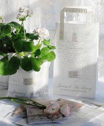 フランスのレシート柄の紙袋/3枚組