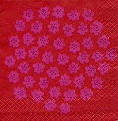 マリメッコ*プケッティ*アカ/1枚/25cm/ペーパーナプキン/バラ売り