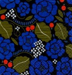マリメッコ*赤い実と青いバラ*青/1枚/24cm/ペーパーナプキン/バラ売り