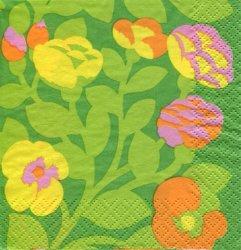 24cm マリメッコ GREEN GREEN グリーン お花柄 1枚 バラ売り ペーパーナプキン marimekko