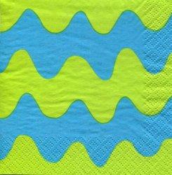 マリメッコ*ロッキ カモメ/波*黄緑x青/1枚/24cm/ペーパーナプキン/バラ売り