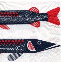 25cm マリメッコ HAUKI ハウキ お魚1枚 バラ売り ペーパーナプキン marimekko