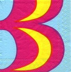 マリメッコ*カイヴォ*水色xピンクxキイロ/1枚/25cm/ペーパーナプキン/バラ売り