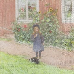 北欧 カール・ラーション ブリタのお庭 猫と一緒 1枚 バラ売り 33cm ペーパーナプキン デコパージュ Carl Larsson Ashdene