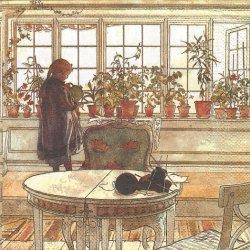 北欧 カール・ラーション 花の窓辺 1枚 バラ売り 33cm ペーパーナプキン Carl Larsson Ashdene