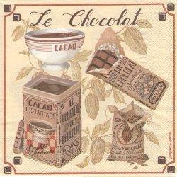 廃番 コントワール・ドゥ・ファミーユ LE CHOCOLAT 1枚 バラ売り 33cm ペーパーナプキン デコパージュ Comptoir de Famille