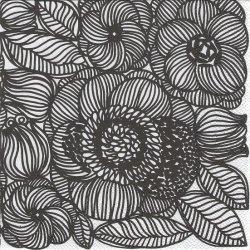 北欧 マリメッコ KURJENPOLVI ブラック クルイェンポルヴィ ゼラニウム お花 1枚 バラ売り 33cm ペーパーナプキン marimekko