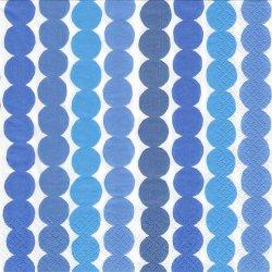 北欧 廃盤 マリメッコ RASYMATTO ブルー ラシィマット 使い込まれたラグ フィンランド製 1枚 ばら売り 33cm ペーパーナプキン デコパージュ marimekko