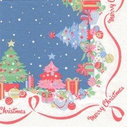 廃盤 キャス・キッドソン CHRISTMAS BORDER クリスマスツリー ブルー 1枚 バラ売り 33cm ペーパーナプキン デコパージュ Cath Kidston Ihr