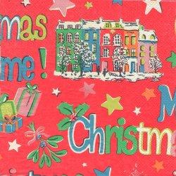 廃番 キャス・キッドソン CHRISTMAS レッド クリスマスロゴ 1枚 バラ売り 33cm ペーパーナプキン デコパージュ Cath Kidston