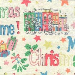 廃番 キャス・キッドソン CHRISTMAS クリーム クリスマスロゴ 1枚 バラ売り 33cm ペーパーナプキン デコパージュ Cath Kidston