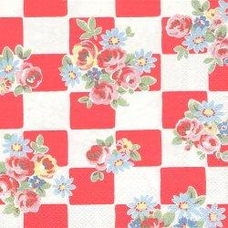 廃盤 キャス・キッドソン DAISY ROSE CHECK レッド マーガレットと薔薇の市松 1枚 バラ売り 33cm ペーパーナプキン デコパージュ Cath Kidston Ihr