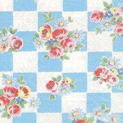 廃盤 キャス・キッドソン DAISY ROSE CHECK ブルー マーガレットと薔薇の市松 1枚 バラ売り 33cm ペーパーナプキン デコパージュ Cath Kidston Ihr