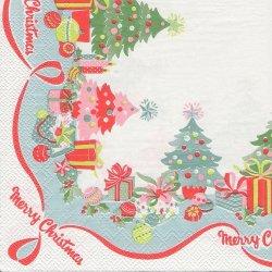 廃盤 キャス・キッドソン CHRISTMAS BORDER クリスマスツリー ホワイト 1枚 バラ売り 33cm ペーパーナプキン デコパージュ Cath Kidston Ihr