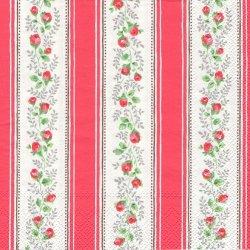 廃盤 キャス・キッドソン TEA ROSE STRIPE レッド つぼみの薔薇のストライプ 1枚 バラ売り 33cm ペーパーナプキン Cath Kidston Ihr