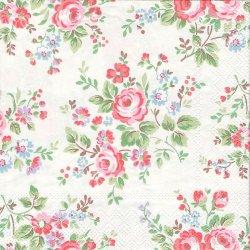 廃番 キャス・キッドソン チェルシーローズ 濃いピンクの薔薇 白 1枚 バラ売り 33cm ペーパーナプキン Cath Kidston