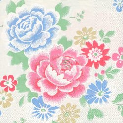 キャス・キッドソン*ノーウィックフラワーズ*ステンシル調の花柄/1枚/33cm/ペーパーナプキン/バラ売り/Cath Kidston/デコパージュ