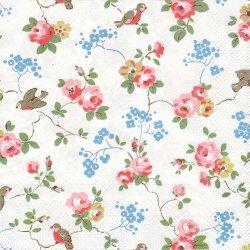 キャス・キッドソン*バードニュー*小鳥と薔薇と青い花*白/1枚/33cm/ペーパーナプキン/バラ売り/Cath Kidston/デコパージュ