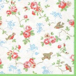 廃盤 キャス・キッドソン BIRDS バード グリーンホワイト 小鳥と薔薇と青い花 1枚 バラ売り 33cm ペーパーナプキン Cath Kidston
